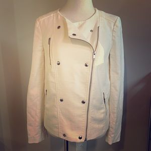 Banana Republic Ivory Asymmetrical Zip Moto Jacket
